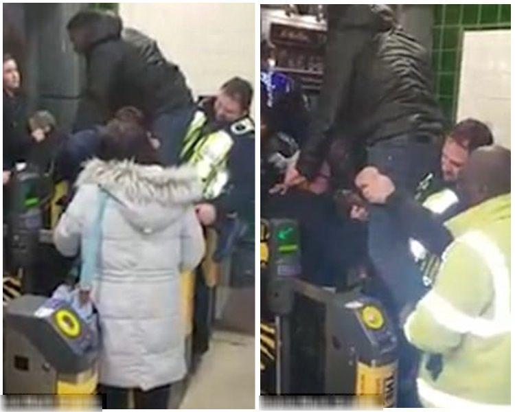 黑人男子被閘門夾下體,哀嚎不斷。(網上圖片)