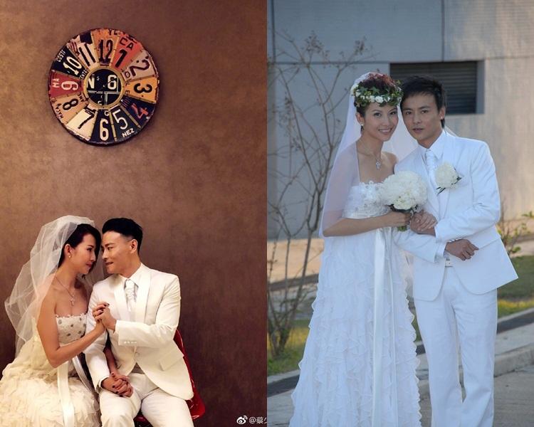 Ada同老公都穿回10年前(右)的婚紗禮服拍照。