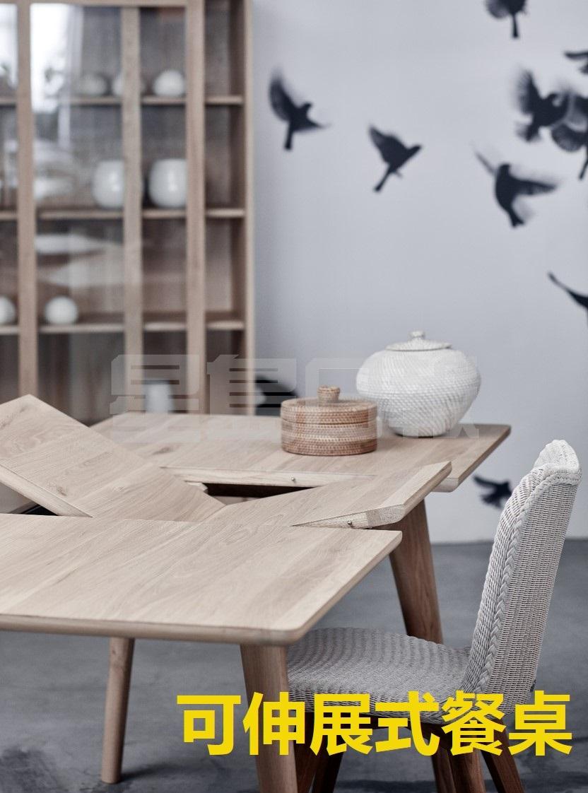 Osso可伸展餐桌由可持續來源的歐洲實心橡木,桌面採圓邊設計,配襯斜角枱腳,綫條簡約流暢,並具伸展功能,把枱腳拉開及上鎖固定,便能擁有更大的桌面空間,方便招呼親友。