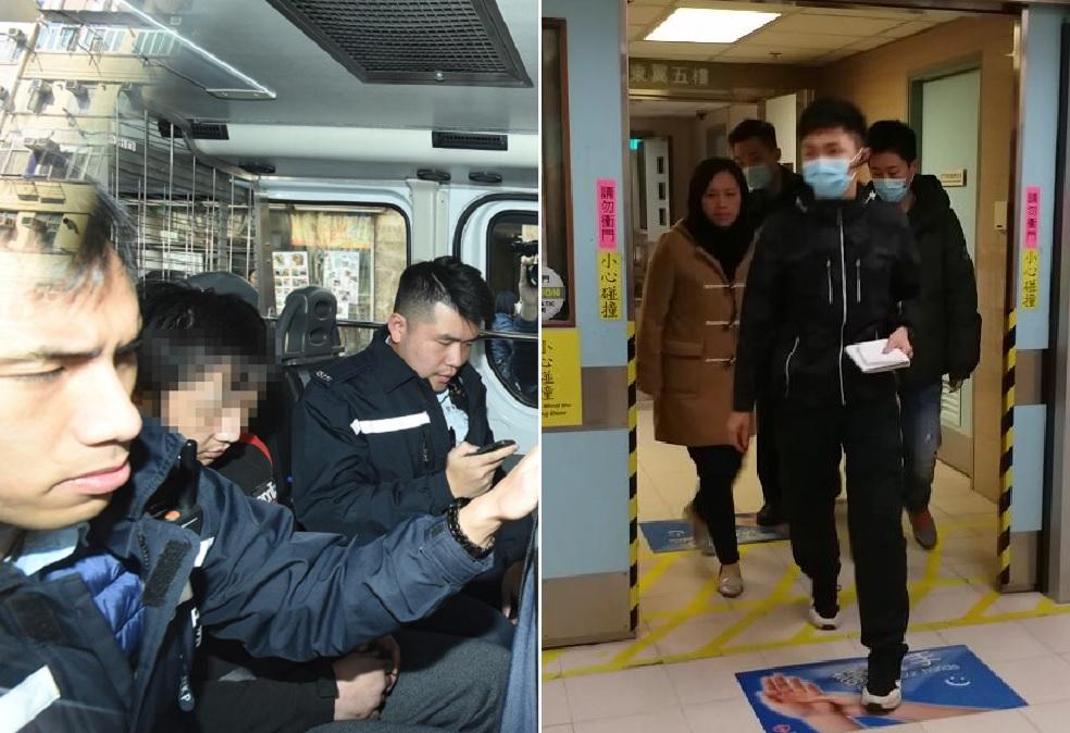 黃男(左圖中)被捕,右圖為重案組人員下午到廣華醫院深切治療部,了解葉女情況。