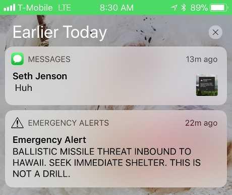 警報簡訊內容寫上「彈道導彈進逼夏威夷」,要求民眾緊急尋找庇護場所。AP