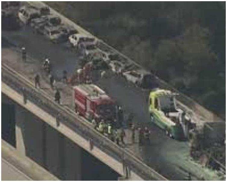 多車連環相撞後警員及救護車趕到現場。網圖