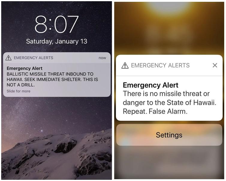 夏威夷誤發導彈來襲警報。AP
