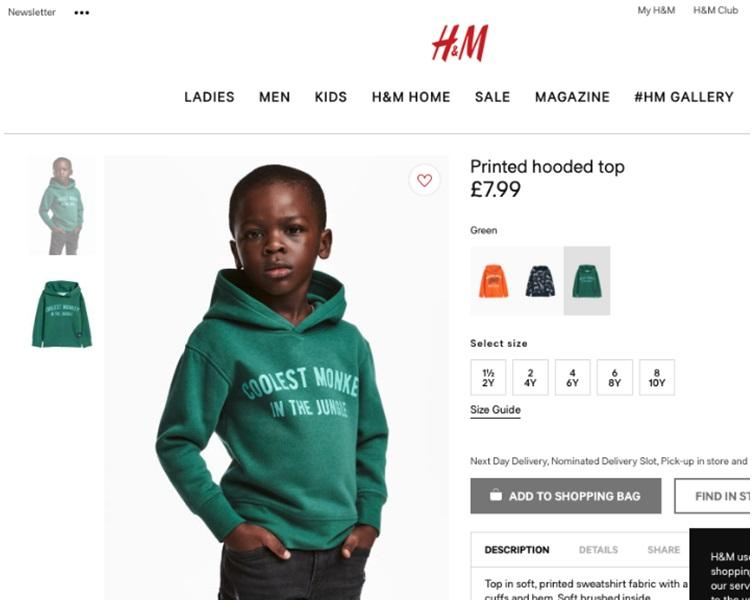 H&M黑人男孩「猴子衣服」廣告,被指涉嫌種族歧視。