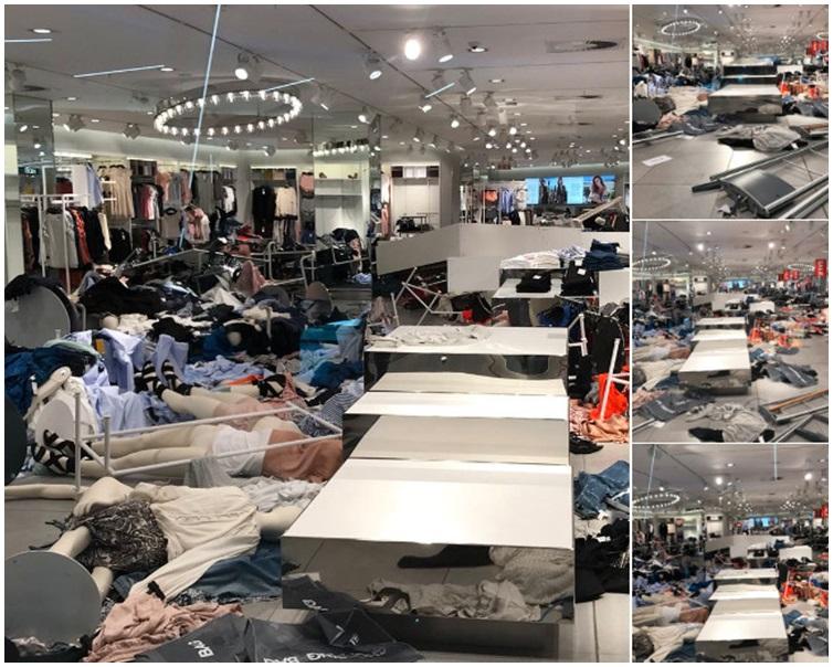 店內衣服遭人大肆搗亂。網圖