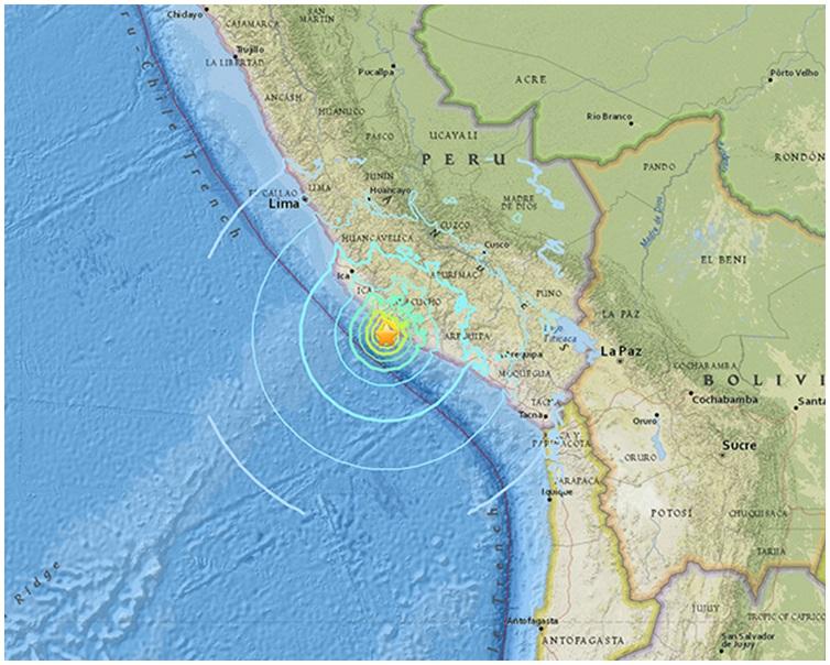 秘魯南部沿海地區發生7.3級地震。
