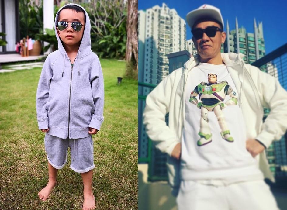小小春身穿連帽外套,戴上帽和墨鏡後Hip Hop味十足,似足爸爸陳小春。