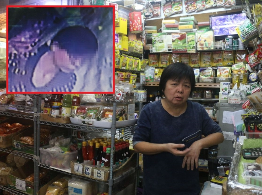 女東主(右)翻查「天眼」片段後,發現女賊(小圖)容貌,遂張貼於檔外呼籲各店提防。