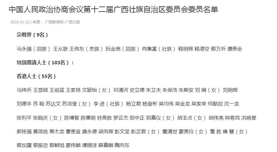 第十二屆廣西壯族自治區委員會委員名單的103名特别邀請人士名單當中,有55名港人。