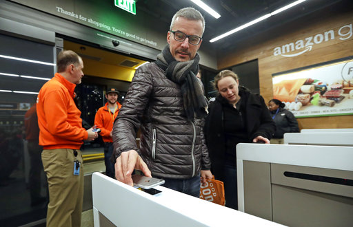 美國「無人商店」開幕。AP圖片