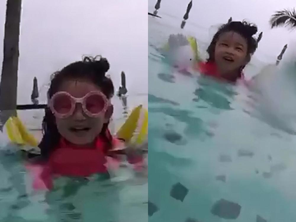 浸浸學得非常開心,一啲都唔怕水!