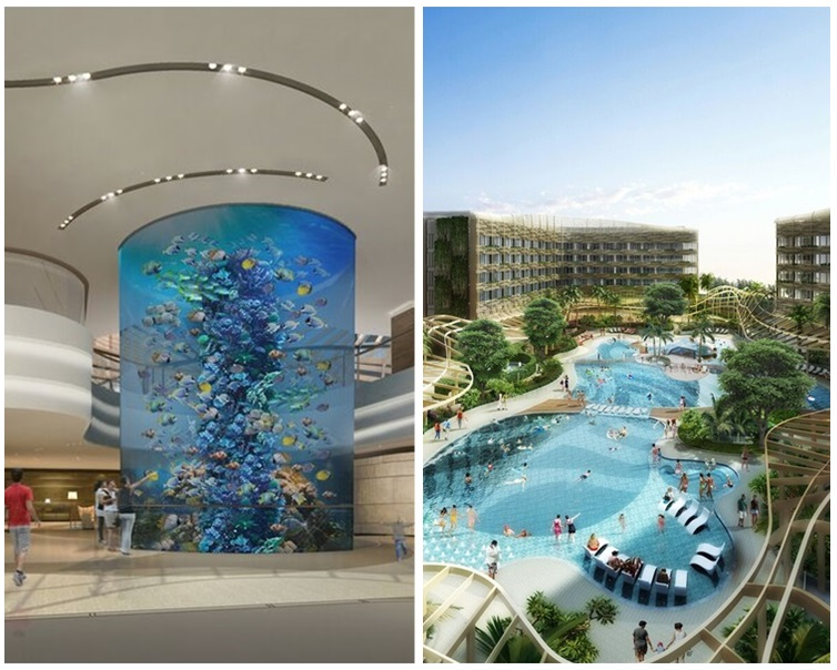 酒店大堂設有16米高圓柱形水族舘,及有礁湖主題游泳池。