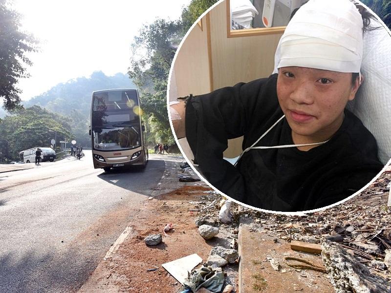 受傷乘客李灝生(小圖)在意外發生後,同爸爸幫手救人。