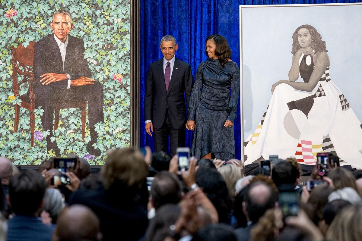奧巴馬與夫人米歇爾出席揭幕。AP圖片