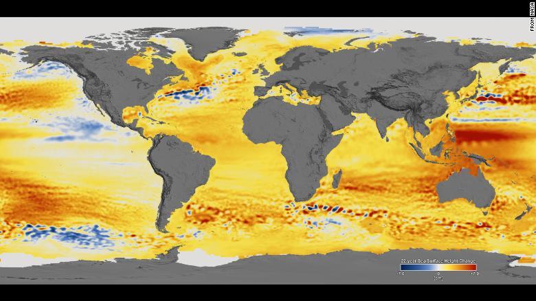 1992至2014年間海平面變化,紅色代表上升藍色代表下降。網上圖片