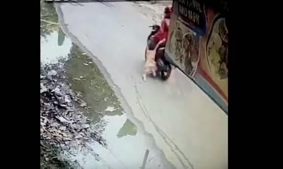 閉路電視拍到,一名女子開著電單車,車後拖著一名女童。網圖