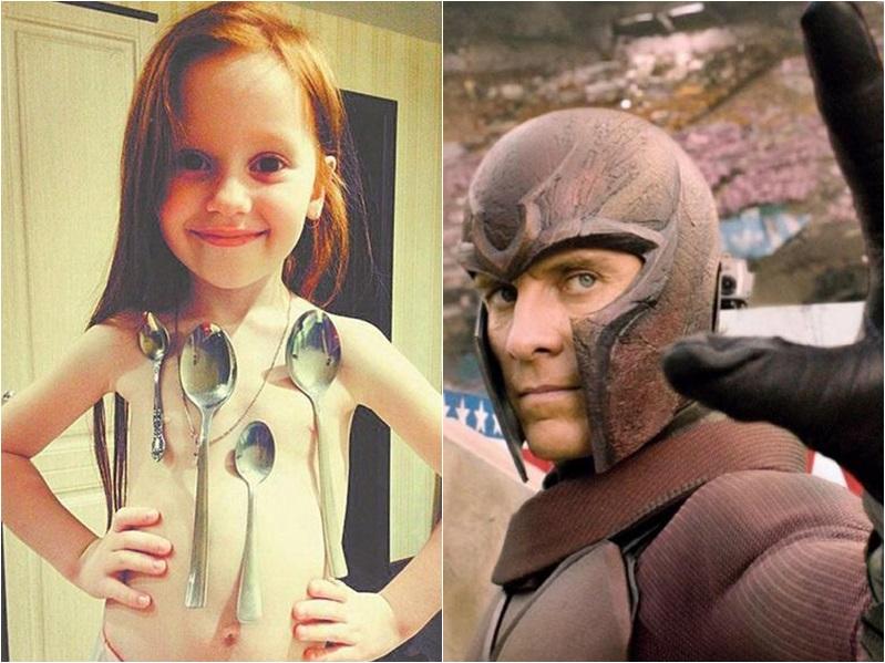 女童維卡(左圖)與x-men內的「磁力王」有類似的異能。網圖