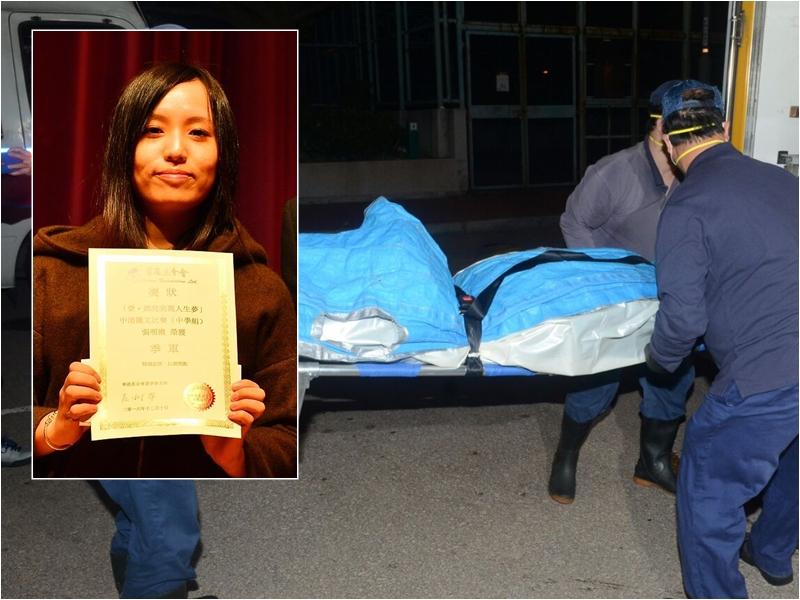 據悉21歲女死者(左圖)倒斃前曾飲咖啡、買膠索帶。