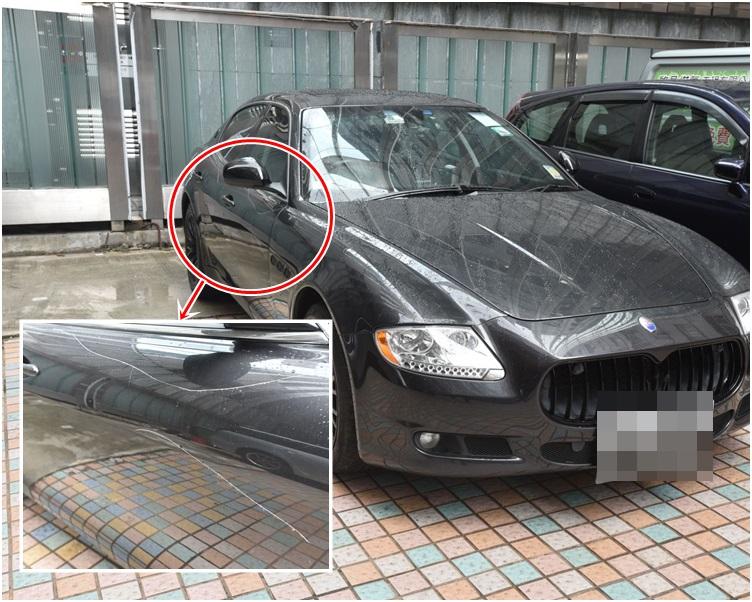 瑪莎拉蒂跑車車身有花痕。
