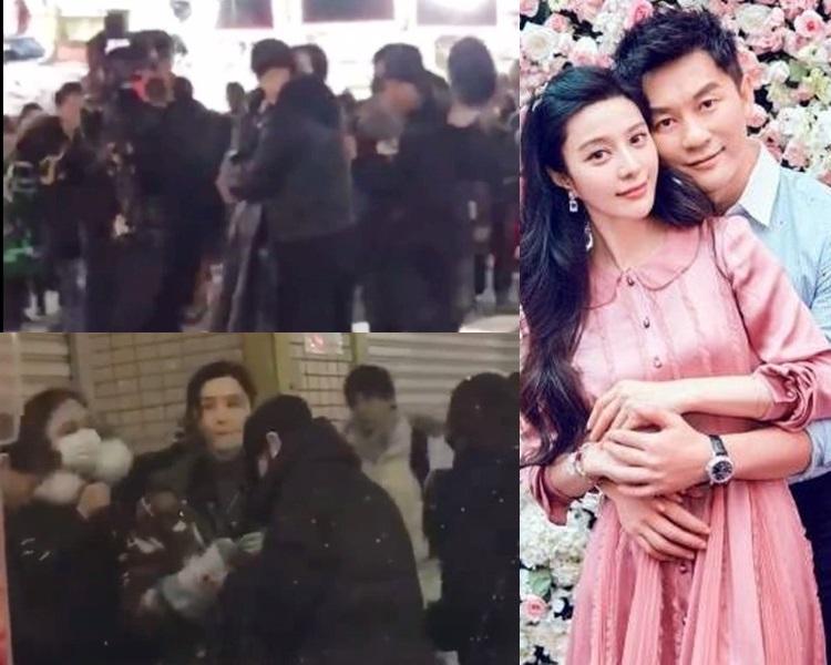 范冰冰與黃軒於日本街頭拍擁吻戲。
