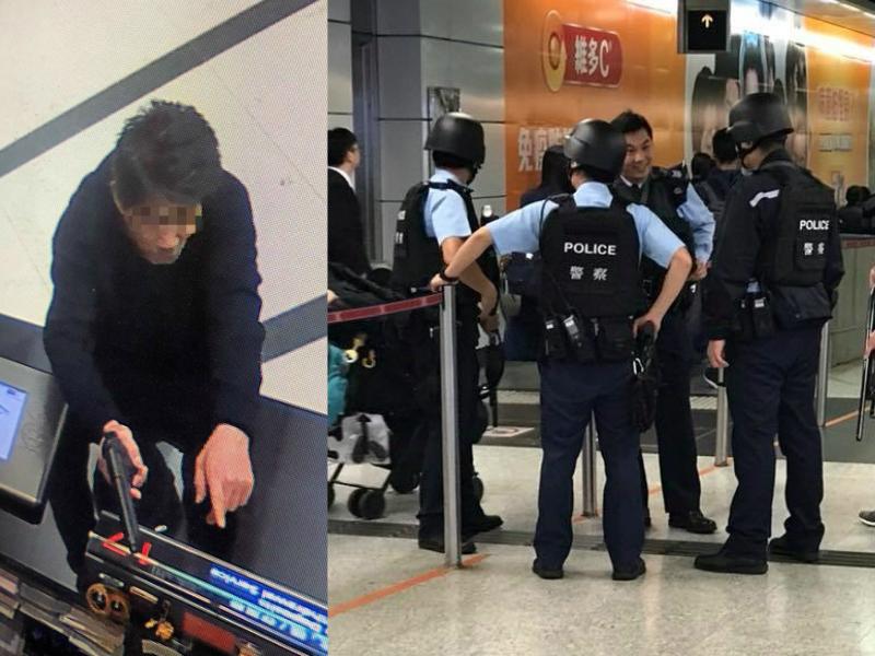 東亞銀行劫匪容貌曝光//警察中環站搜捕。網民Mark Lau 圖片