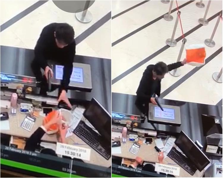 中年男匪手持手槍打劫中環東亞銀行總行。