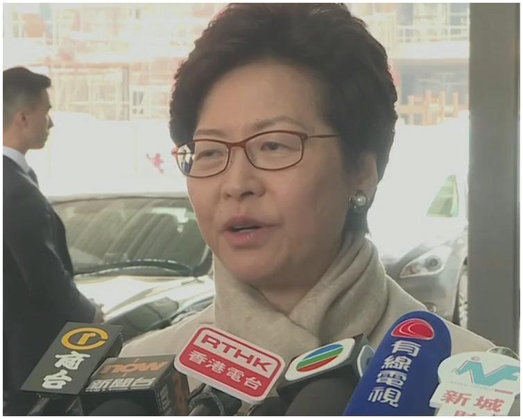 林鄭月娥由北京返抵香港。有線電視截圖