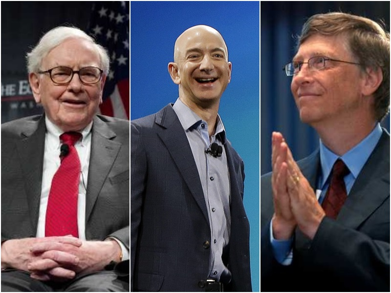 (左起)「股神」巴菲特、亞馬遜創辦人貝索斯及微軟創辦人蓋茨。