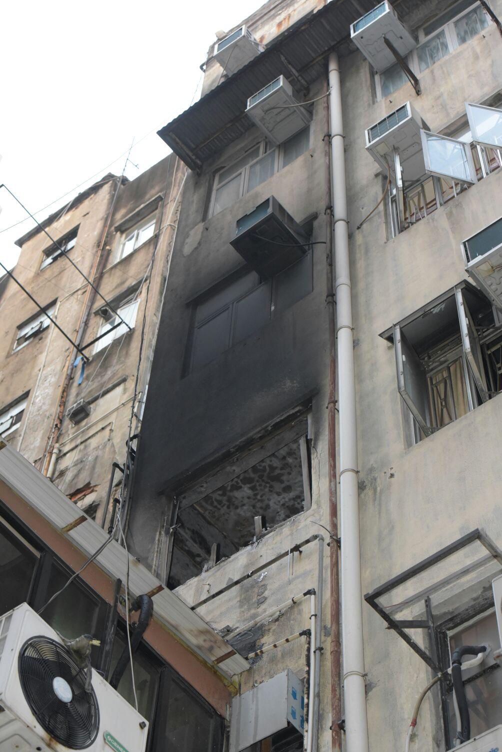 旺角砵蘭街大廈火警。黃文威攝