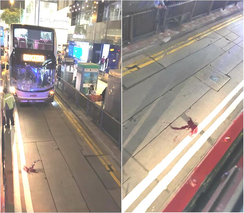 中環男途人遭巴士撞飛重傷。網民Yvonne Li 圖片
