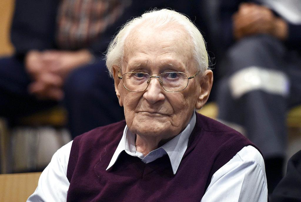 德國前納粹黨衞軍格勒寧(Oskar Groening)上周五在醫院離世。Ap圖片