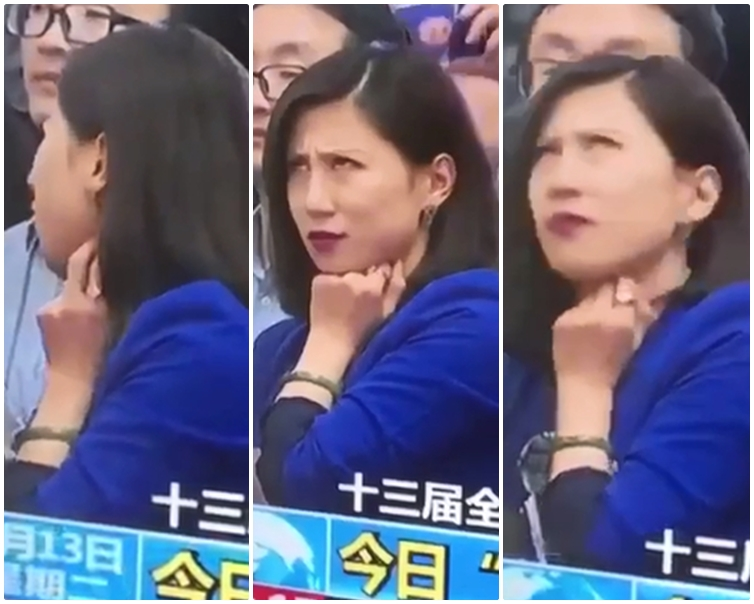 女記者在採訪時被拍到表情多多,疑似不滿同行提問。截圖
