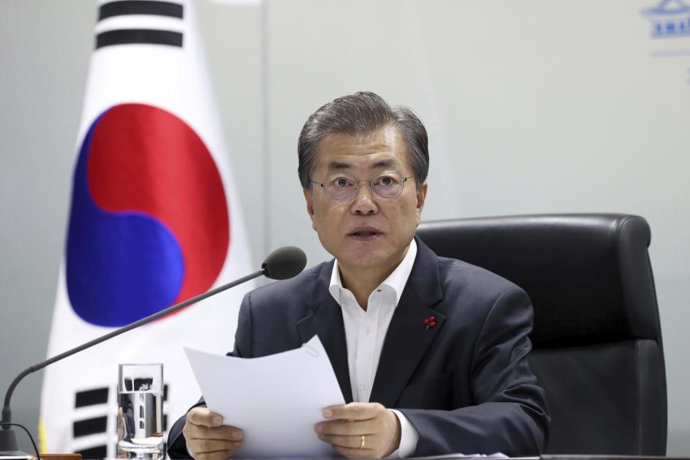 南韓總統文在寅將提出修憲 。ap圖片