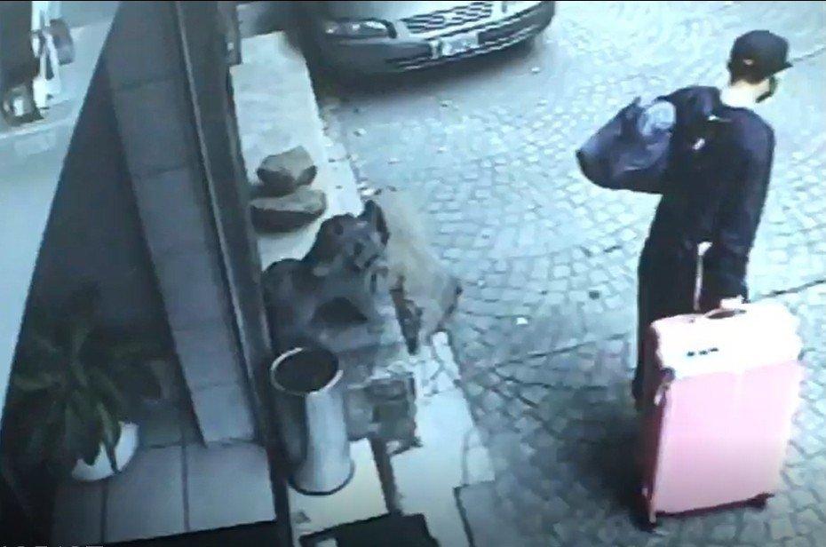 陳獨自一人拖著粉紅色的行李篋離開。