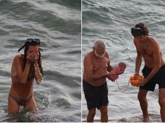 俄羅斯一名孕婦日前在埃及紅海進行海中分娩(左);丈夫與一名醫生一同在海中為她接生(右) 網圖