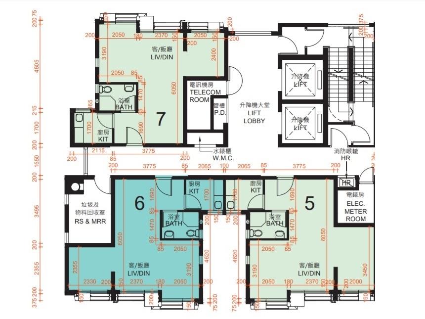 啟朗苑A座及C座5號室大單位,最多可間三個房。