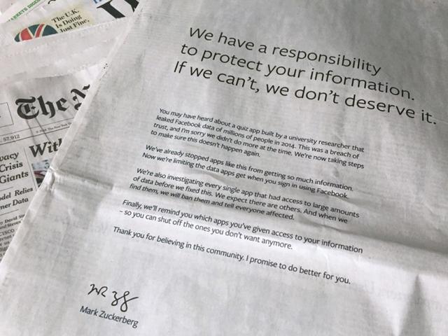 朱克伯格(Mark Zuckerberg)上周在個人fb承認錯誤後,周日又在美英多份報章刊登全版廣告,為「違背信任」向用戶道歉。 網圖