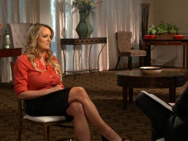 聲稱曾跟美國總統特朗普有染的色情片女星斯蒂芬妮,接受《60鐘時事雜誌》的訪問。 網圖