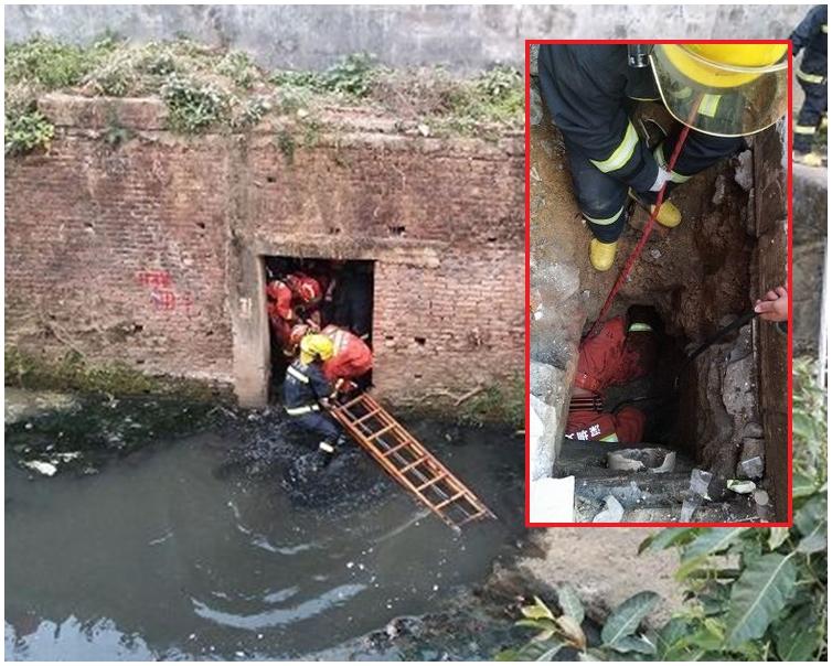 少女被卡在下水道的夾縫處。網圖
