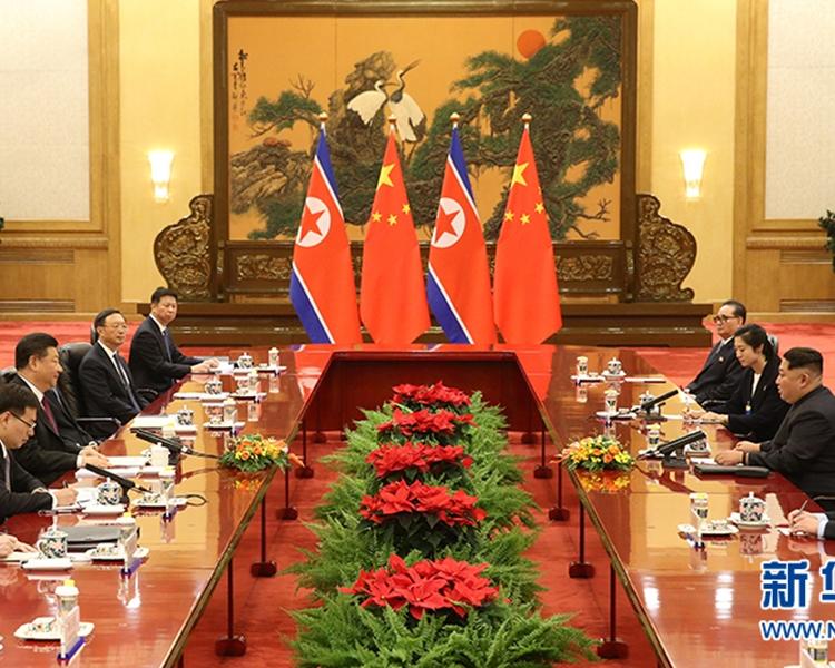 北韓領導人金正恩應國家主席習近平邀請,3月25日至28日到中國進行非正式訪問。新華社圖片