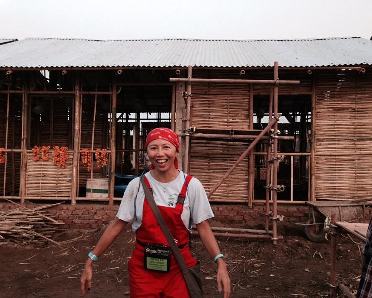 黃嘉盈(Olivia)到尼泊爾建屋。受訪者提供