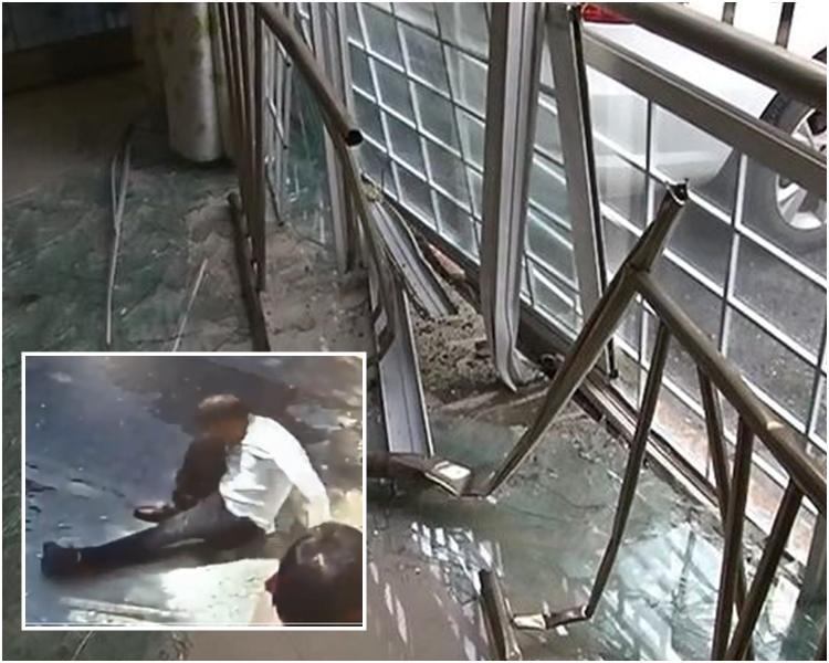 醉酒男子倒車撞向民居,導致一樓的門窗損毀。網上圖片