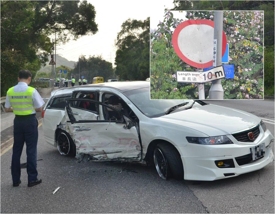 大埔公路私家車與電單車相撞。