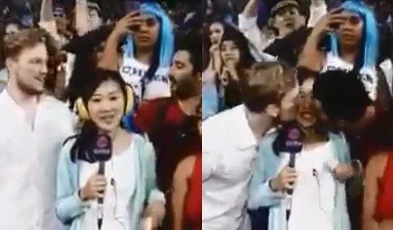有線女記者在國際七人欖球賽決賽上直播期間,被兩名外籍男觀眾同時強吻兩邊面頰。影片截圖