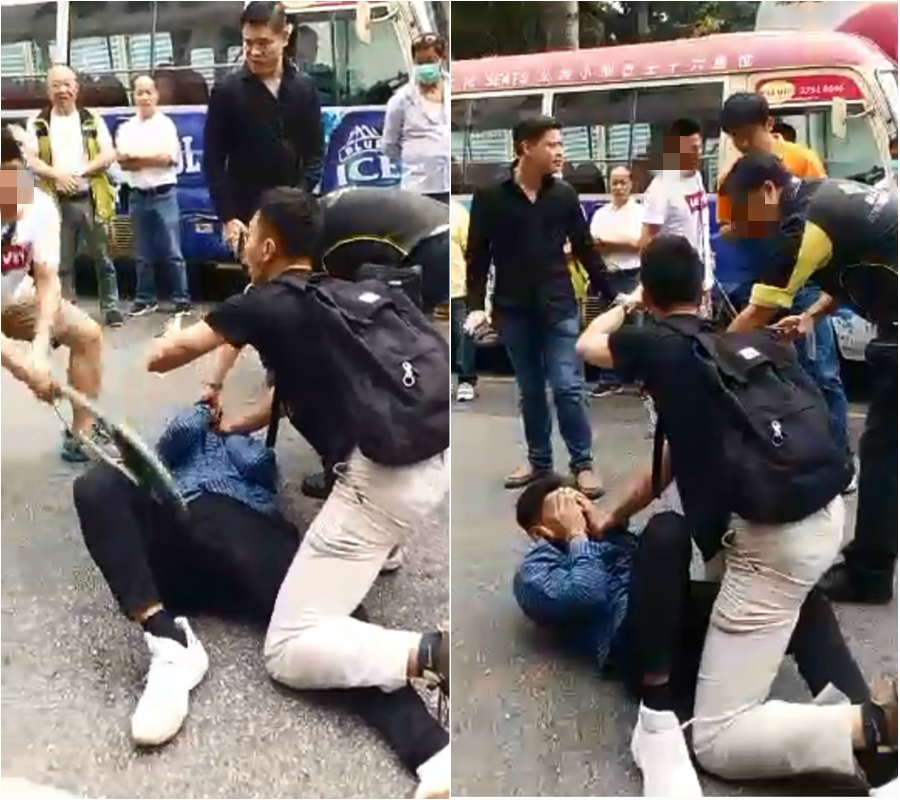 一名街坊持折櫈拍向疑匪,休班警立即喝止停手。網上圖片