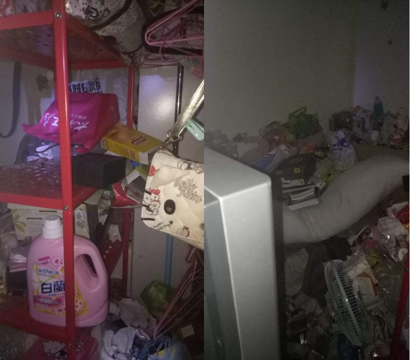 房間被堆滿雜物,食物包裝、空的飲料瓶都放滿一地。