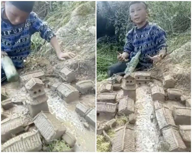 男童用泥漿造出了一棟棟精緻的房子,還有河道和城門。網圖