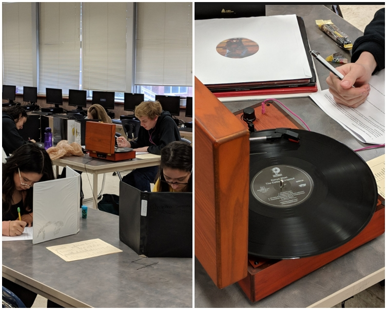 一名學生携帶一部唱機進入考試試場。Eric Saueracker Twitter圖片