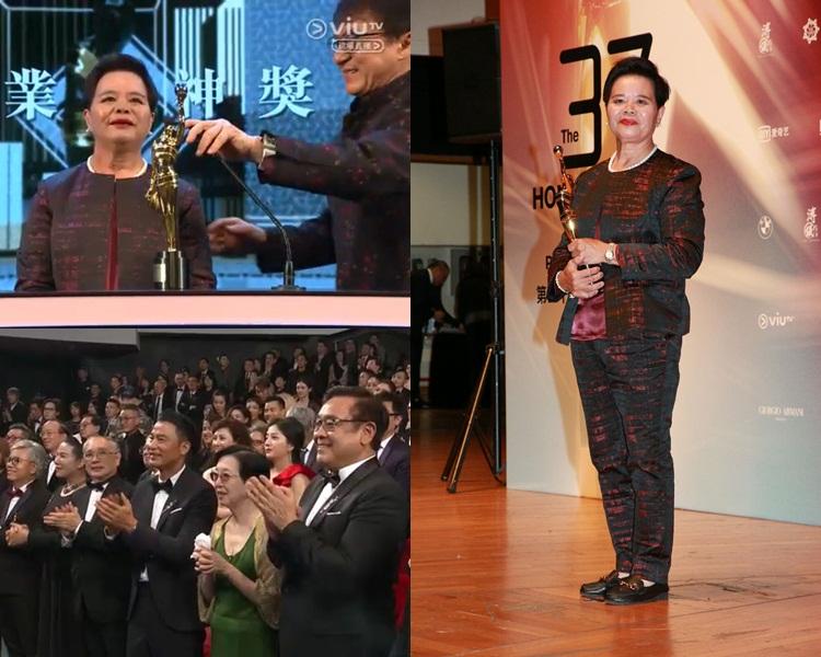 Pauline獲成龍頒獎,全場起立拍掌。