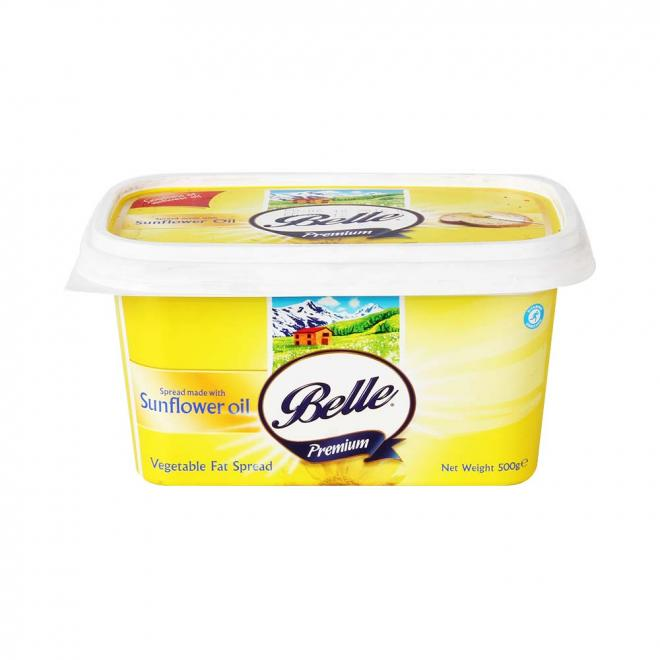 Belle Premium Vegetable Fat Spread Made With SunflowerOil(630微克/公斤)。